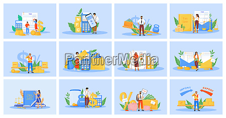 taxes and payments flat concept vector