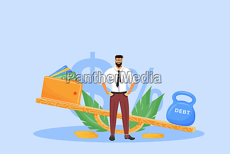 debt repayment flat concept vector illustration