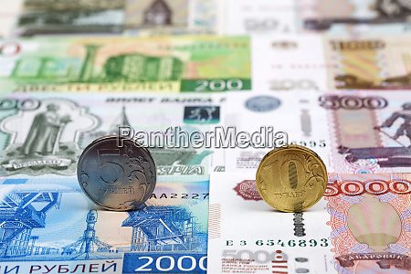 russian coins on the background of
