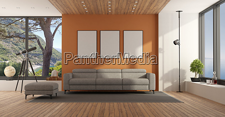 living room with large window and
