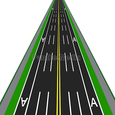 direct road highway with markup dedicated