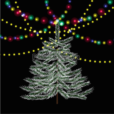 christmas new year firtree bright festive