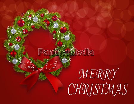 christmas wreath on a postcard green