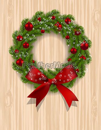 christmas wreath green branch of fir