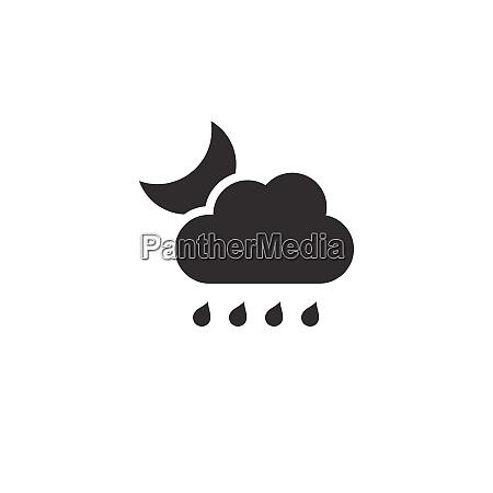 raindrops cloud and moon icon night