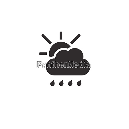 raindrops cloud and sun icon weather