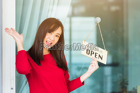 woman glad smiling she notice sign