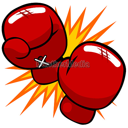 fighter boxing gloves red punch sport