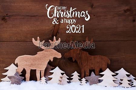 moose wooden tree snow merry christmas