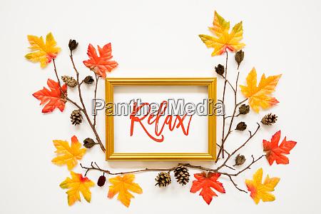 colorful autumn leaf decoration frame text