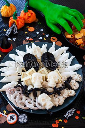 halloween sweets in skull shape