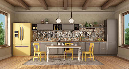 vintage kitchen with dining table and