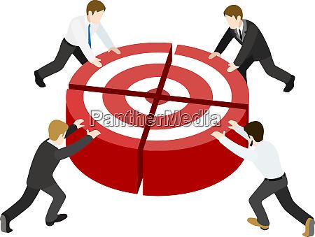 teamwork target motivation illustration