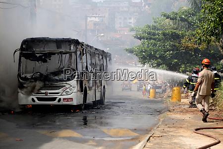 fire in public transport buses