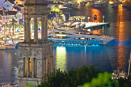 hvar bay and yachting harbor aerial