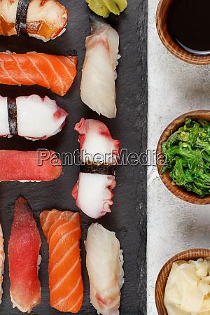sushi set nigiri on a plate