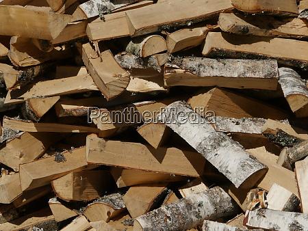 chopped birch firewood