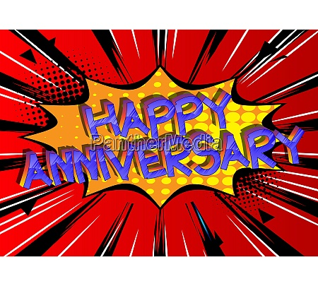happy anniversary comic book style cartoon