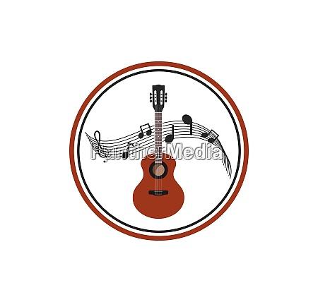 guitar icon logo vector illustration design