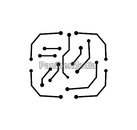 circuit board line cpu chip icon