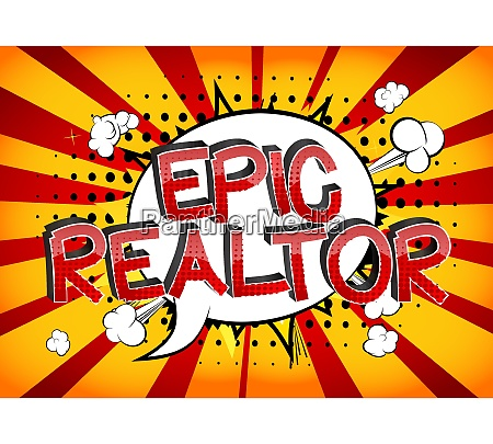 epic realtor comic book style cartoon