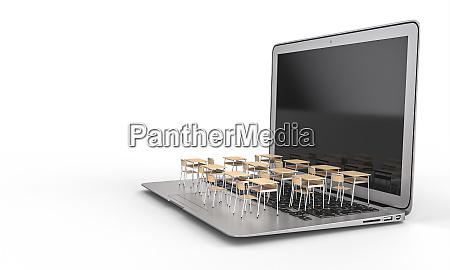 school desks on a laptop keyboard