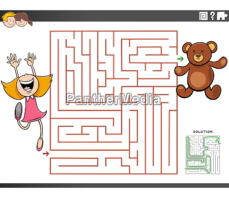 maze educational game with girl and