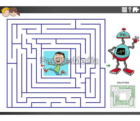 maze educational game with boy and