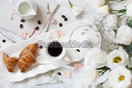 breakfast tray with coffee cup and