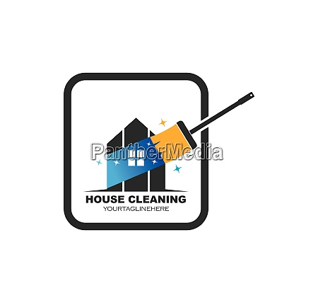 house cleaning service icon logo vector