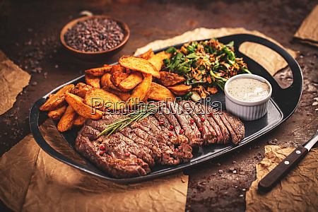 sliced grilled beef barbecue steak