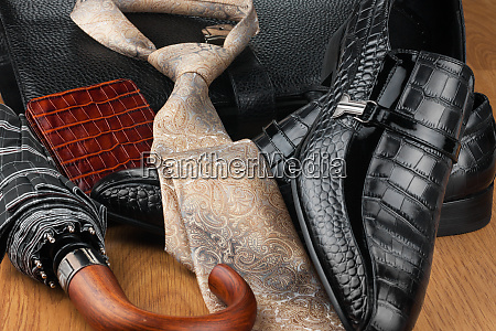 classic mens shoes tie umbrella wallet
