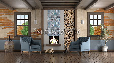rustic style room with old fireplace