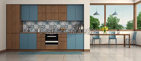 modern blue and wooden kitchen