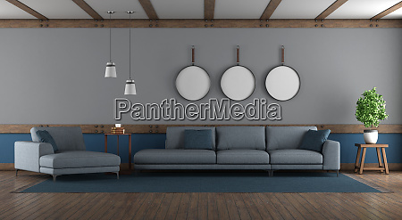 blue and gray elegant living room