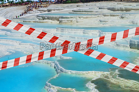 protective tape and minerals in pamukkale