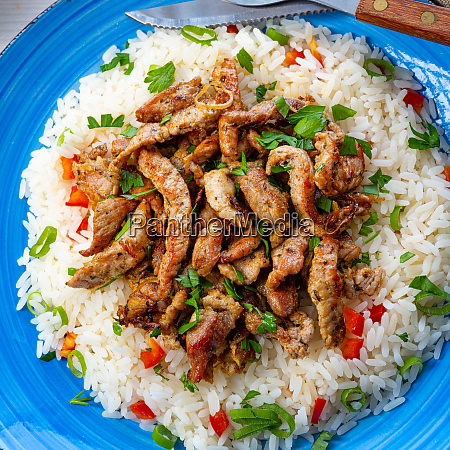 gyros with rice and green salad