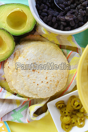 tacos and mexican food ingredients