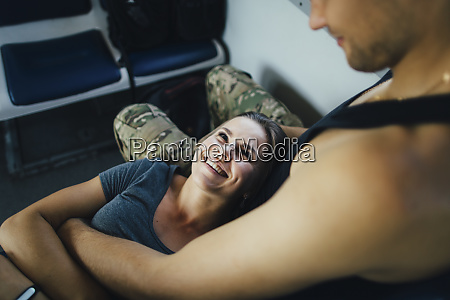 young couple travelling in train
