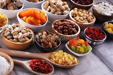composition with dried fruits and assorted