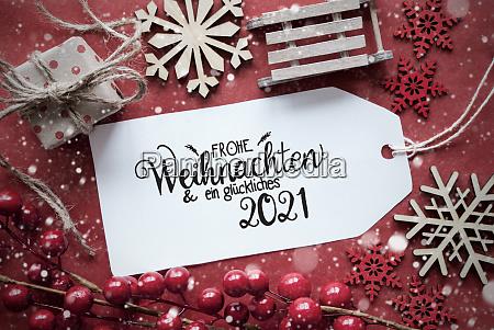 red christmas decoration label glueckliches 2021
