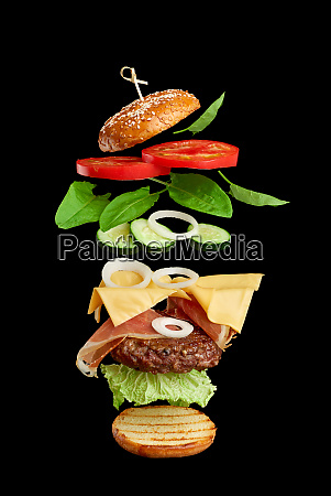 flying burger ingredients cutlet sesame seed