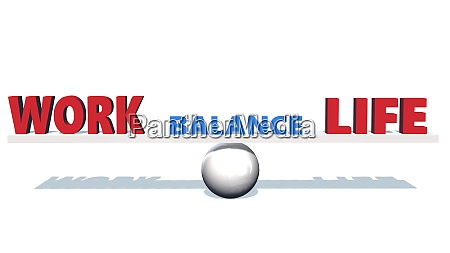 work life balance lettering red