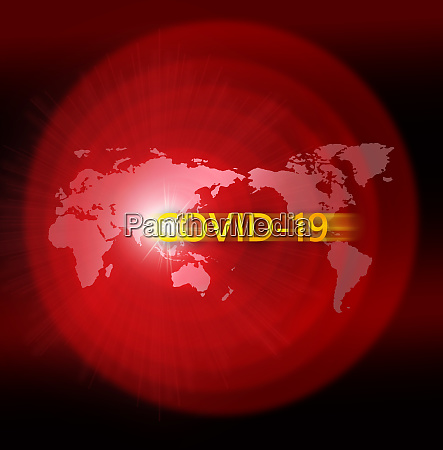 red world map with covid 19