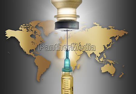 covid 19 vaccine with world map