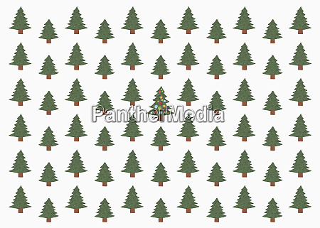 illustration of green christmas tree in
