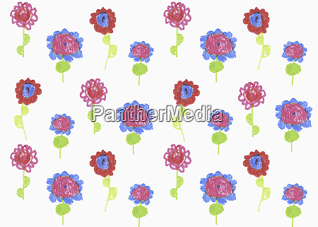 childs drawing of vibrant colored flowers