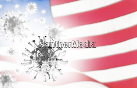 digitally generatedcoronavirusmodel with american flag in