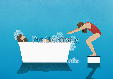 wife on diving block preparing to