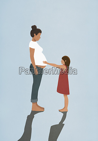 curious daughter touching pregnant mothers stomach